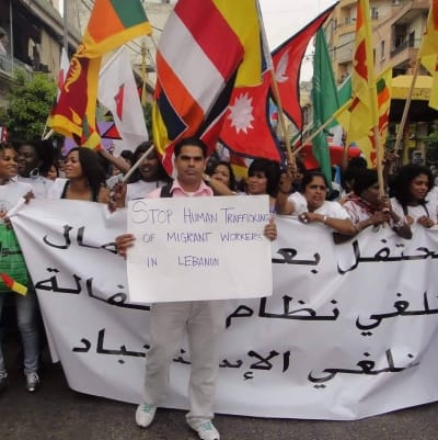 Dipendra Uprety of This Is Lebanon Marches for Labour Rights