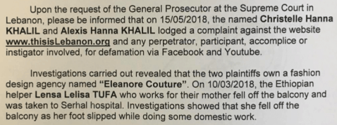 Lebanon Supreme Court Prosecutor's Erroneous Interpol Request on Behalf of Eleanore Couture