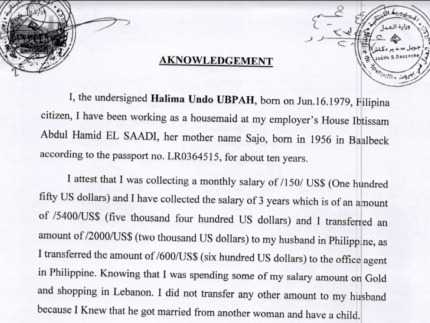 Halima Forced to Sign Affidavit to Cover for Ibtisaam's Enslavement